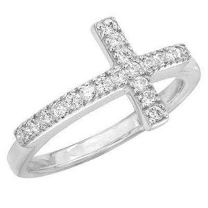 """""""Reverence"""" Sterling silver and CZ cross ring"""